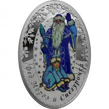 Stříbrná kolorovaná mince Děda Mráz a Sněhurka - Matrjoška 1 Oz 2019 Proof