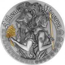 Strieborná pozlátená mince Bohyne: Athena a Minerva 2 Oz High Relief 2018 Antique Standard