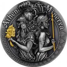 Stříbrná pozlacená mince Bohyně: Athena a Minerva 2 Oz High Relief 2018 Antique Standard