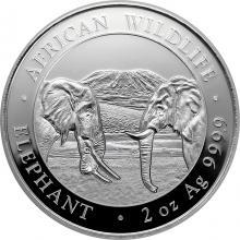 Stříbrná investiční mince Slon africký Somálsko 2 Oz