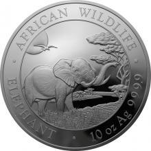 Stříbrná investiční mince Slon africký Somálsko 10 Oz