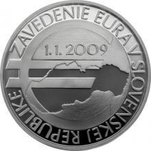 Stříbrná mince Zavedení eura na Slovensku - 10. výročí 2019 Proof