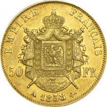 Zlatá minca 50 Frank Napoleon III. 1858 A