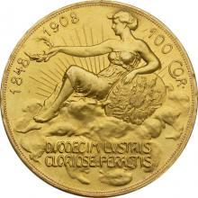 Zlatá mince Stokoruna 60. výročí vlády Františka Josefa I. Rakouská ražba 1908