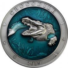Stříbrná mince 3 Oz Podmořský svět - Krokodýl 2019 Antique Standard
