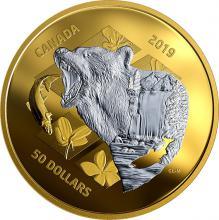 Stříbrná pozlacená mince Inner Nature: Medvěd grizzly 5 Oz 2019 Proof