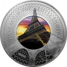 Stříbrná kolorovaná mince Translucent Treasures: 130. výročí Eiffelovy věže v Paříži 5 Oz