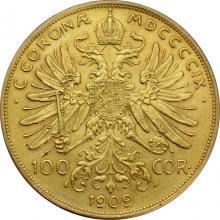 Zlatá mince Stokoruna Františka Josefa I. Rakouská ražba 1909