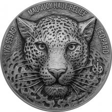 Stříbrná mince 1 Kg Leopard The African Big Five High Relief 2019 Antique Standard