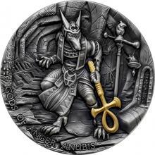 Stříbrná pozlacená mince Bohové hněvu - Anubis 2 Oz High Relief 2019 Antique Standard
