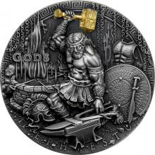 Stříbrná mince Bohové - Héfaistos 2 Oz High Relief 2019 Antique Standard