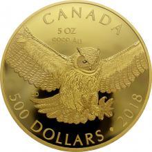 Zlatá mince 5 Oz Výr virginský 2018 Proof