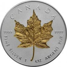 Stříbrná pozlacená mince Maple Leaf - 40. výročí 1 Oz 2019 Proof