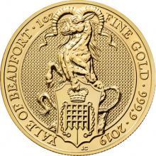 Zlatá investiční mince The Queen's Beasts The Yale 1 Oz 2019