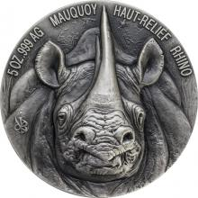 Stříbrná mince 5 Oz Nosorožec The African Big Five High Relief 2019 Antique Standard