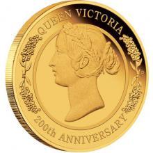 Zlatá mince Královna Viktorie 200. výročí narození 1/4 Oz 2019 Proof