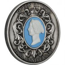 Stříbrná mince 2 Oz Královna Viktorie 200. výročí narození 2019 Antique Standard