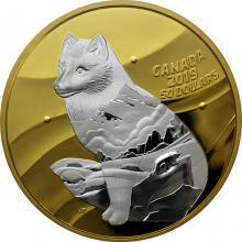 Stříbrná pozlacená mince Inner Nature: Liška polární 5 Oz 2019 Proof