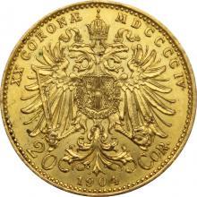 Zlatá mince Dvacetikoruna Františka Josefa I. Rakouská ražba 1904