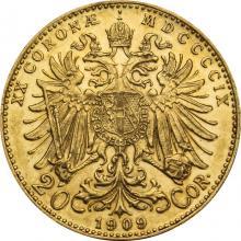 Zlatá minca Dvadsaťkorunáčka Františka Jozefa I. Rakúská razba 1909