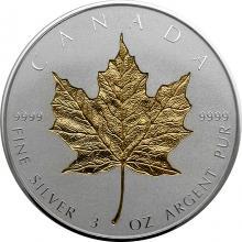 Stříbrná pozlacená mince Maple Leaf - 40. výročí 3 Oz 2019 Proof