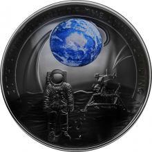 Stříbrná pokovená mince Přistání na Měsíci - 50. výročí 2019 Proof