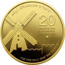 Jeruzalémský větrný mlýn Devátá zlatá investiční mince Izraele 1 Oz 2019