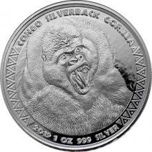 Stříbrná investiční mince Kongo Gorila 1 Oz 2019