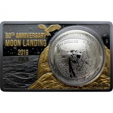 Stříbrná mince 50. výročí přístání na Měsíci - pozlaceno Exkluzivní edice 2019 Proof