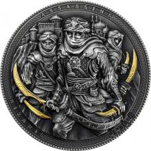 Stříbrná pozlacená mince Assassins - Nizaris 2 Oz High Relief 2019 Antique Standard