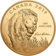 Strieborná pozlátená mince 10 Oz Into the Light - Lion od Roberta Batemana 2019 Proof