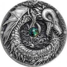 Stříbrná mince 2 Oz Draci - severský drak 2019 azurit Antique Standard