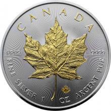 Stříbrná mince pozlacený Maple Leaf 1 Oz 2019 Standard