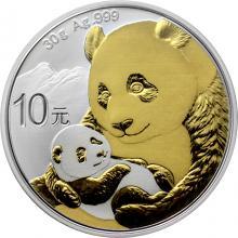 Stříbrná mince pozlacená Panda 30 g 2019 Standard