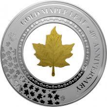 Stříbrná mince se zlatým listem Maple Leaf ve skleněné výplni - 40. výročí 2019 Proof