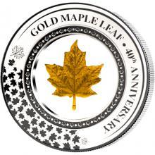 Strieborná minca so zlatým listom Maple Leaf v sklenenej výplni - 40. výročie 2019 Proof