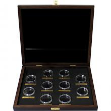 Dřevěná krabička pro 10 x 2 Oz Ag mince série The Queen's Beasts tmavá