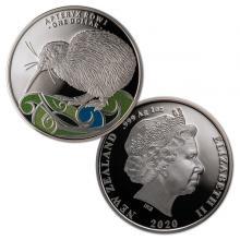 Stříbrná kolorovaná mince Kiwi 1 Oz 2020 Proof