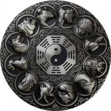 Stříbrná mince 5 Oz Lunární zvířata 2019 Antique Standard