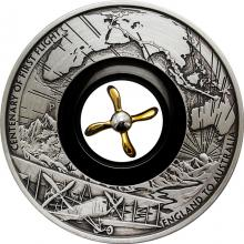 Stříbrná mince 2 Oz 100. výročí prvního letu z Anglie do Austrálie 2019 Antique Standard