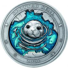 Stříbrná mince 3 Oz Podmořský svět - Tuleň pacifický 2020 Antique Standard