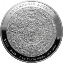 1kg Aztécky kalendár Strieborná minca 2019 Proof