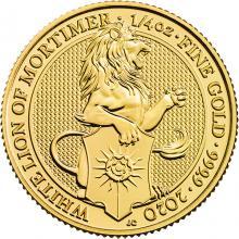 Zlatá investiční mince The Queen's Beasts The White Lion 1/4 Oz 2020