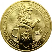 Zlatá investiční mince The Queen's Beasts The White Lion 1 Oz 2020