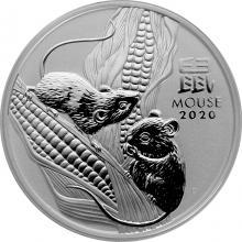 Stříbrná investiční mince Year of the Mouse Rok Myši Lunární 2 Oz 2020