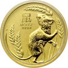 Zlatá investiční mince Year of the Mouse Rok Myši Lunární 1/10 Oz 2020