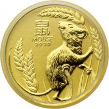 Zlatá investiční mince Year of the Mouse Rok Myši Lunární 1/4 Oz 2020