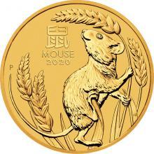 Zlatá investičná minca Year of the Mouse Rok Myši Lunárny 1/2 Oz 2020