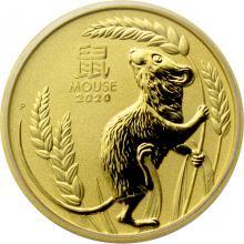 Zlatá investiční mince Year of the Mouse Rok Myši Lunární 1 Oz 2020