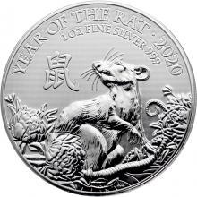 Stříbrná investiční mince Rok Krysy Lunární The Royal Mint 1 Oz 2020